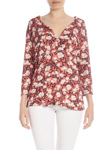 Kangra Cashmere - Pink viscose blouse with floral print