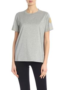 Moncler - Grey T-shirt with golden logo