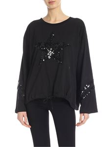 Parosh - Black t-shirt with sequined star