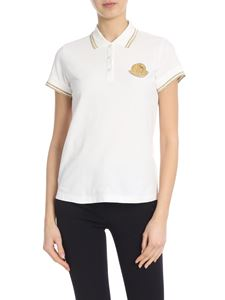Moncler - White cotton pique polo with golden details