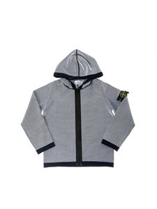 Stone Island Junior - Zipped and hooded sweater in white and blue