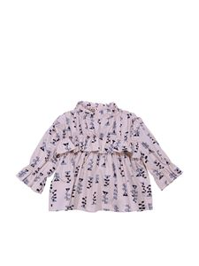 Marni - Pink flounced blouse with print