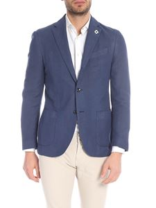 Lardini - Two-buttoned jacket in blue with logo