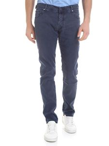 Jacob Cohën - Linen and stretch cotton trousers in blue