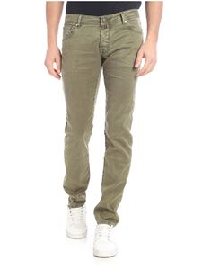 Jacob Cohën - Linen and stretch cotton trousers in military green