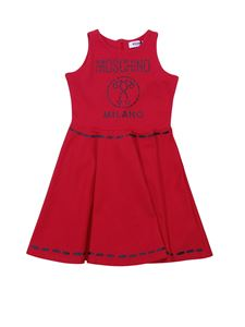 Moschino Kids - Dress in red with printed logo and  decorations