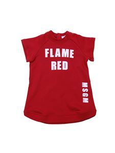 MSGM - Abito rosso stampa Flame Red