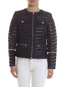 Diego M - Black down jacket with organza details