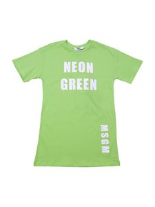 MSGM - Neon Green printed dress in green