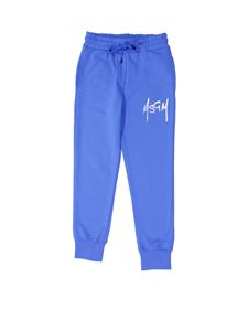 MSGM - Brushed logo printed pants in blue