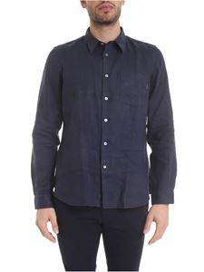 Paul Smith - Linen shirt with front pocket in blue