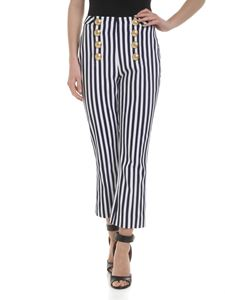 Balmain - High-waisted trousers in blue and white stripes