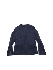Emporio Armani - Two-button linen jacket in blue with logo