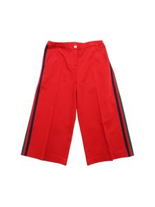 Gucci - Crop trousers in red with side bands