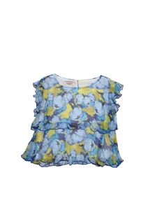 Pinko Up - Top Livenza peonies print in light blue