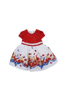 Monnalisa - Dress in white with poppies print and red top