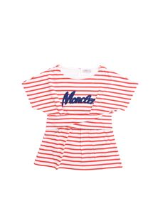 Moncler Jr - Striped T-shirt in white and red with logo