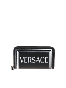 Versace - Leather wallet in black with logo print
