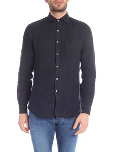 Fay - Shirt in dark blue pure linen