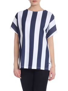 Fay - Striped cotton T-shirt in white and blue