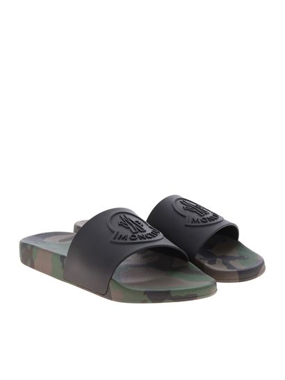 eb1b2badc9dc Moncler Spring Summer 2019 basile slippers in black and camouflage ...