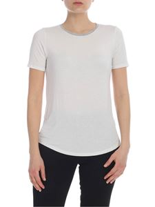 Majestic Filatures - Lamè crew-neck T-shirt in white