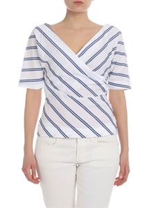 Barba - Crossover blouse in white with blue stripes
