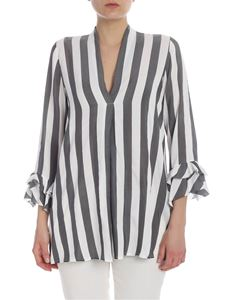 Her Shirt - Alice striped blouse in gray and white