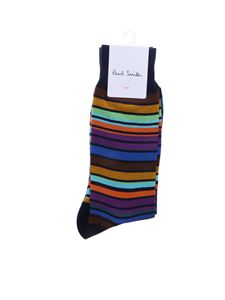 Paul Smith - Blue Leo socks with multicolor stripes