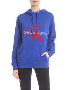 Calvin Klein Jeans - Cotton sweatshirt in electric blue with logo