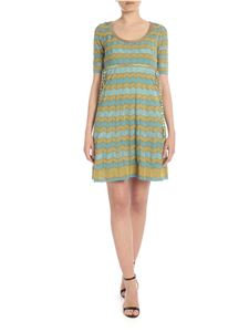 M Missoni - Knit dress in light blue with contrasting pattern