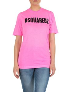 Dsquared2 - T-shirt girocollo fucsia stampa Dsquared