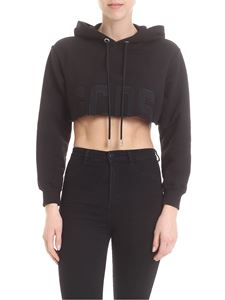 GCDS - Crop sweatshirt in black with GCDS embroidery