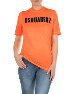 Dsquared2 - Orange crewneck T-shirt with Dsquared print