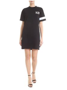 GCDS - Dress in black with XCIV embroidery
