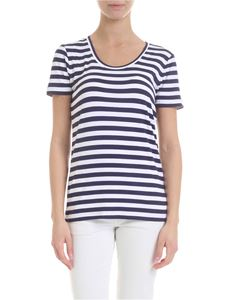Michael Kors - T-shirt in white and blue striped viscose
