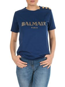 Balmain - Blue t-shirt with Balmain logo and buttons