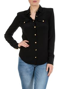 Balmain - Shirt in black silk with Balmain buttons