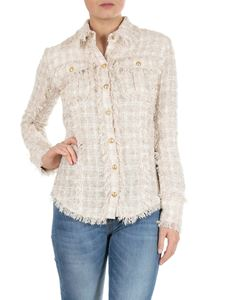 Balmain - Fringed bouclé shirt in beige and white