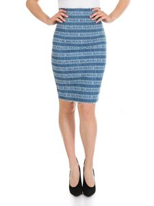 Balmain - Light blue skirt with Balmain logo