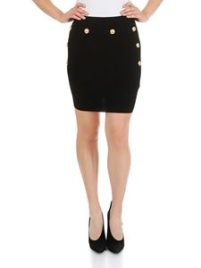 Balmain - Black stretch skirt with Balmain buttons