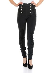 Balmain - Black jeans with Balmain buttons