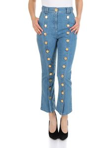 Balmain - Flared jeans in light blue with Balmain buttons