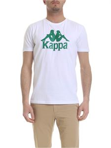 Kappa - T-shirt in white with green Kappa print
