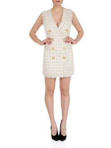 Balmain - Bouclé wrap dress in white and beige