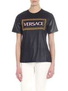 Versace - 90s vintage logo t-shirt in black lacquered