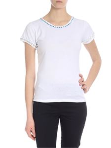 Parosh - Crew-neck T-shirt in white with shells and beads