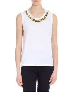 Parosh - Top in white with black brown and yellow beads