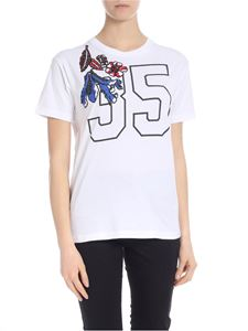 Parosh - Crew-neck t-shirt in white with sequin embroidery