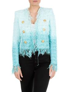 Balmain - Turquoise tweed jacket with Balmain buttons